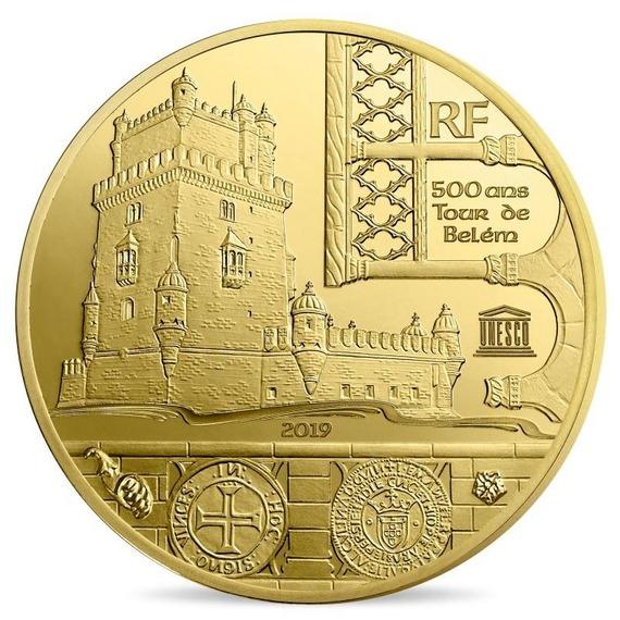 2019 フランス UNESCO:ベレンの塔 金貨 0.5g プルーフ クリアケース付き 新品未使用