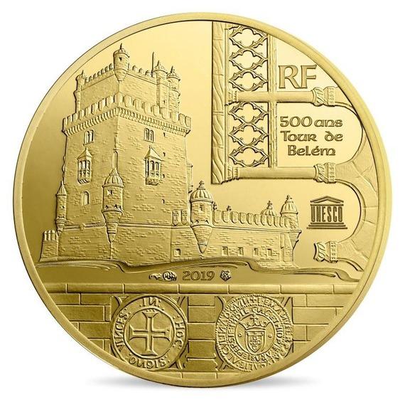 2019 フランス UNESCO:ベレンの塔 金貨 1/4オンス プルーフ クリアケース付き 新品未使用