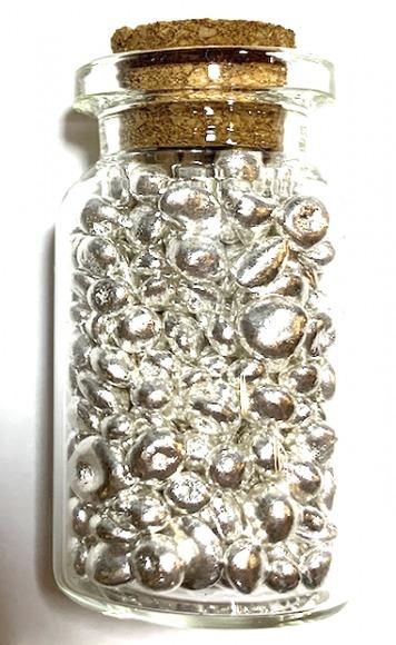 銀の砂 ガラスの小瓶 純銀 50g アクセサリーポーチつき