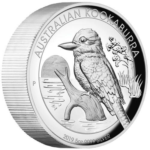 2019 オーストラリア クッカバラ(カワセミ) 銀貨 5オンス ハイレリーフ クリアーケース付き 新品未使用