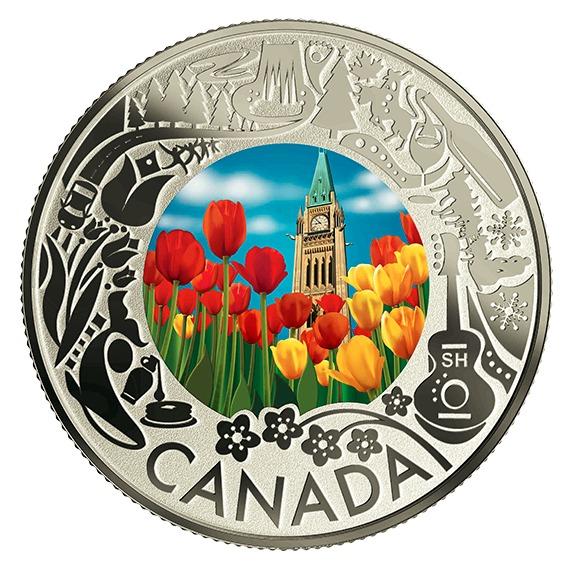 2019 カナダ カナダの名所祝祭:チューリップ 銀貨 1/4オンス 反転プルーフ 箱とクリアケース付き 新品未使用
