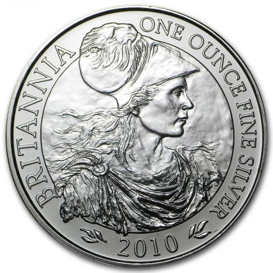 新品未使用 2010 イギリス ブリタニア銀貨1オンス (39mmクリアーケース付き)