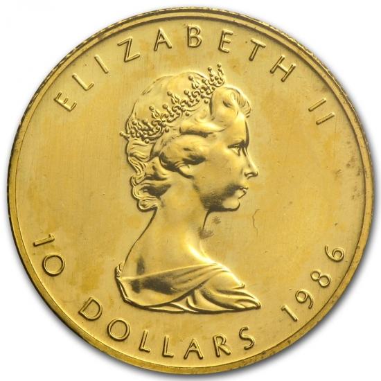 新品未使用 1986 カナダ メイプル金貨 1/4オンス 20mm クリアーケース