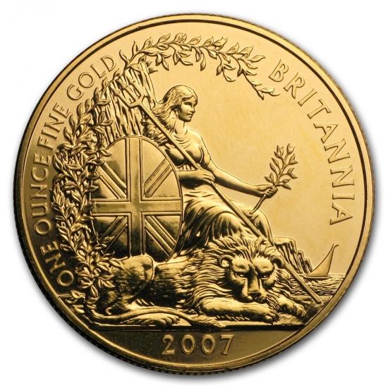 新品未使用 2007 イギリス ブリタニア金貨 1オンス クリアーケース付き