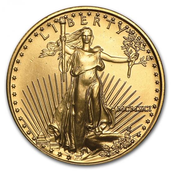 1991 アメリカ イーグル金貨 1/2オンス 【27mmクリアーケース付き】