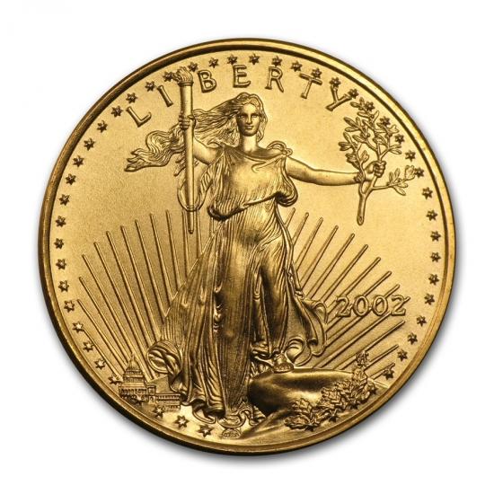 2002 アメリカ イーグル金貨 1/4オンス 【22mmクリアーケース付き】