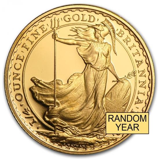 イギリス ブリタニア金貨1/4オンス ランダムイヤー プルーフ 22mmクリアーケース付き