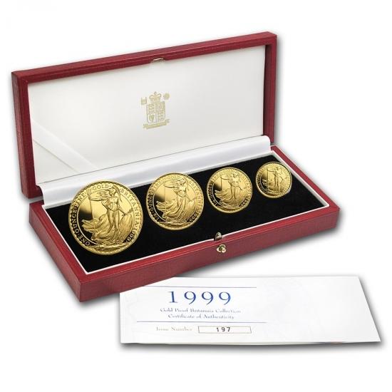 1999 イギリス Great Britain ブリタニア金貨1、1/2、1/4、1/10オンス 【4枚】セット