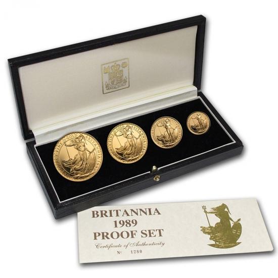 1989 イギリス Great Britain ブリタニア金貨1、1/2、1/4、1/10オンス 【4枚】セット