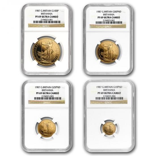 1987 イギリス Great Britain ブリタニア金貨1、1/2、1/4、1/10オンス 【4枚】セット PF-69 NGC