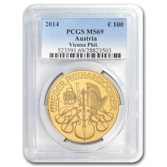 2014 オーストリア 1オンス ウィーン金貨PCGS MS 69 スラブ入り