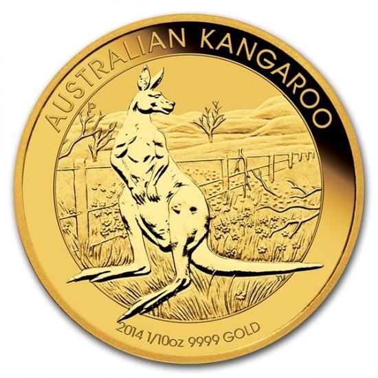 新品未使用 2014 オーストラリア、カンガルー金貨1/10オンス クリアーケース付き