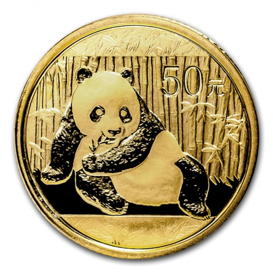 新品未使用 2015 中国  パンダ金貨 1/10オンス 50元 真空パック入り