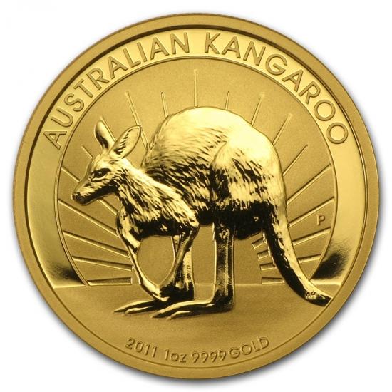 新品未使用 2011 オーストラリア、カンガルー金貨1オンス クリアーケース付き