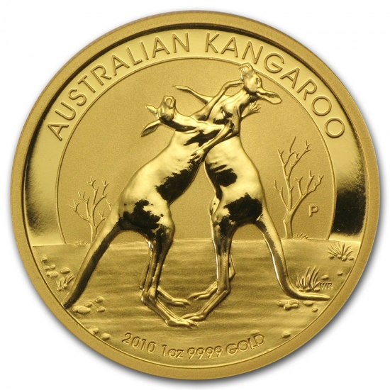 新品未使用 2010 オーストラリア、カンガルー金貨1オンス クリアーケース付き