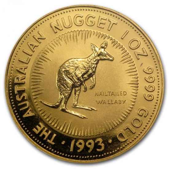 新品未使用 1993 オーストラリア、カンガルー金貨1オンス クリアーケース付き