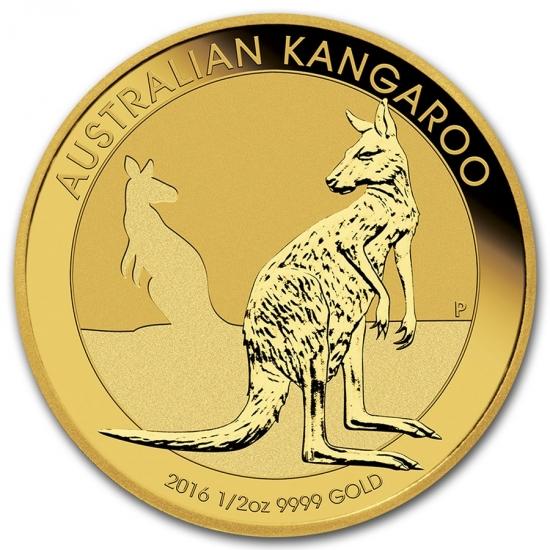 新品未使用 2016  オーストラリア、カンガルー金貨 1/2オンス クリアーケース付き