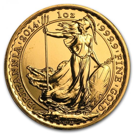 新品未使用 2014 イギリス ブリタニア金貨 1オンス クリアーケース付き