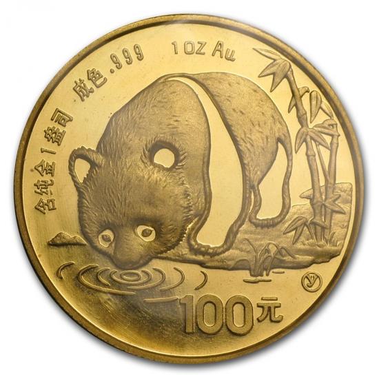 新品未使用 1987 中国  パンダ金貨1オンス