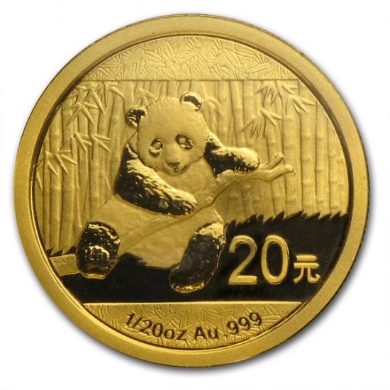 新品未使用 2014 中国  パンダ金貨 1/20オンス