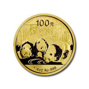 新品未使用 2013 中国   パンダ金貨1/4オンス