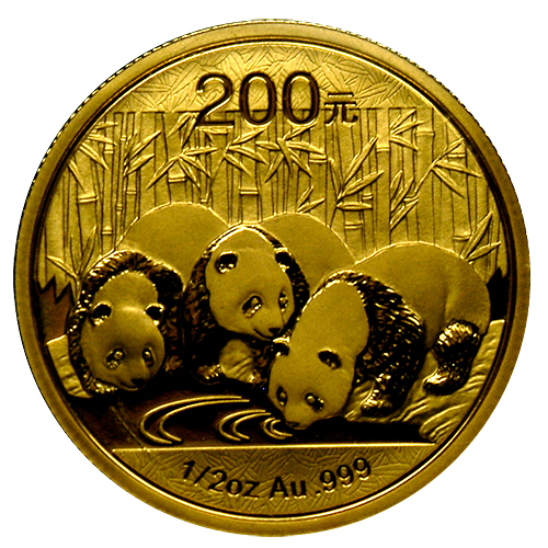 新品未使用 2013 中国   パンダ金貨1/2オンス