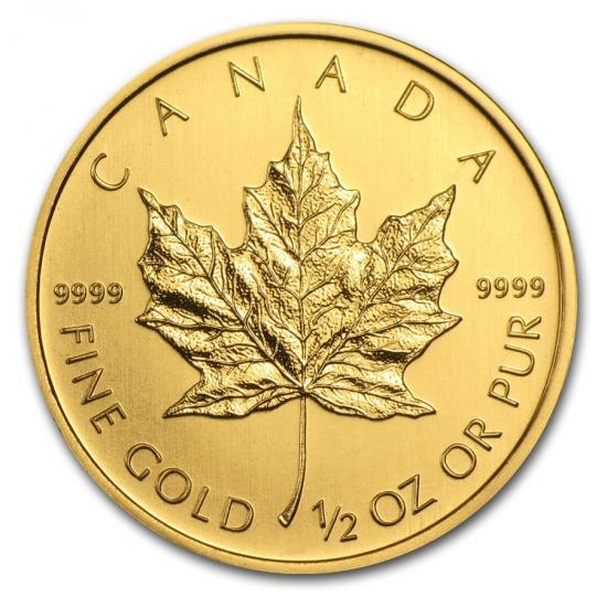 新品未使用 2013 カナダ メイプル金貨1/2オンス クリアーケース付き