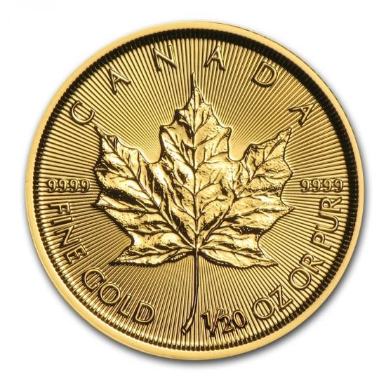 新品未使用 2016 カナダ メイプル金貨1/20オンス 真空パック入り