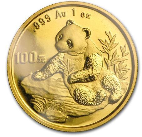 新品未使用 1998 中国  パンダ金貨1オンス