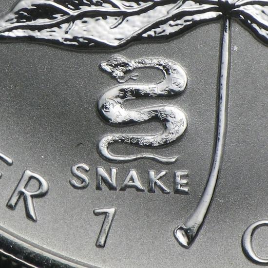 新品未使用 2001  カナダ メイプルリーフ銀貨1オンス【38mmクリアーケース付き】【干支ヘビ】