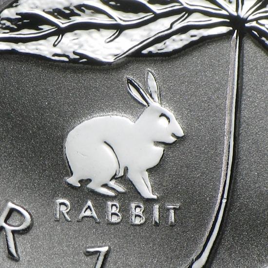 新品未使用 1999  カナダ メイプルリーフ銀貨1オンス【38mmクリアーケース付き】【干支ウサギ】