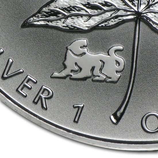 新品未使用 1998  カナダ メイプルリーフ銀貨1オンス【38mmクリアーケース付き】【干支タイガー】