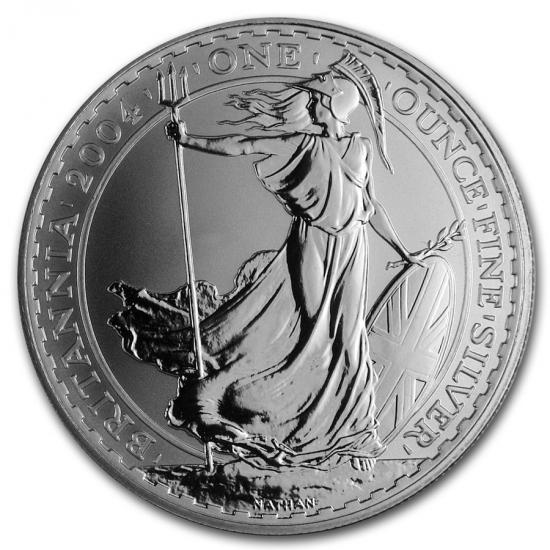2004 イギリス ブリタニア銀貨1オンス (39mmクリアーケース付き)