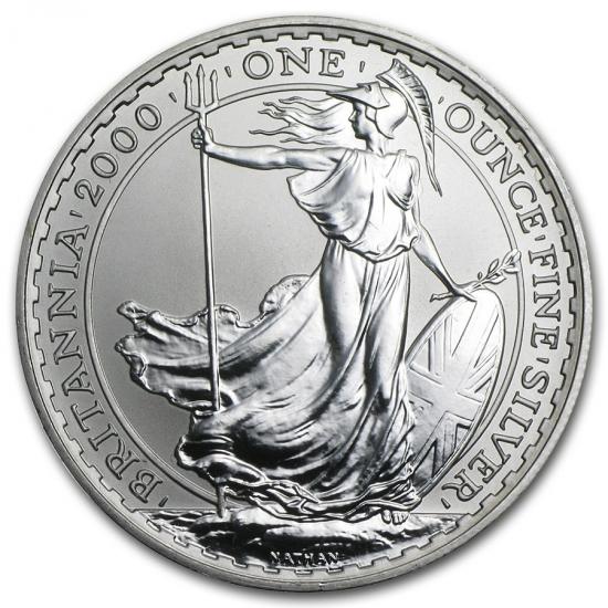 2000 イギリス ブリタニア銀貨1オンス (39mmクリアーケース付き)