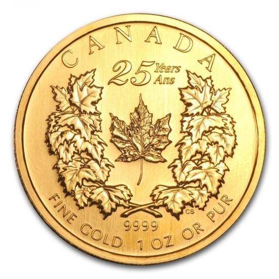 新品未使用 2004 カナダ メープル金貨1オンス (25th Anniv) クリアーケース付き