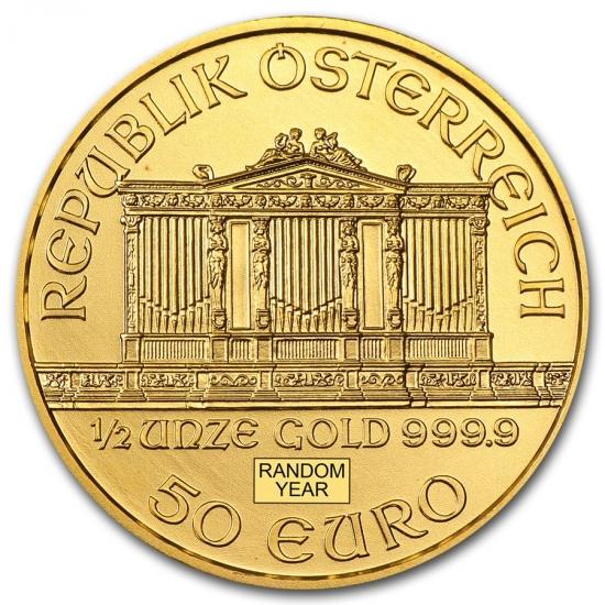 新品未使用 オーストリア ウィーン金貨 1/2オンス ランダムイヤー(28mmクリアーケース付き)