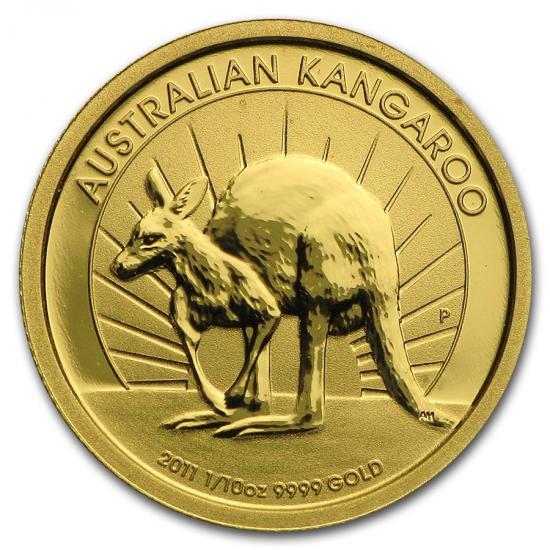 新品未使用 2011 オーストラリア、カンガルー金貨 1/10オンス クリアーケース付き