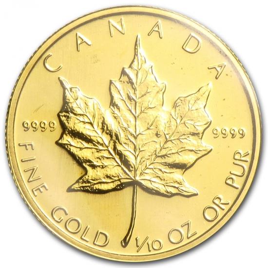 新品未使用 1992 カナダ メイプル金貨1/10オンス 16mmクリアーケース付き