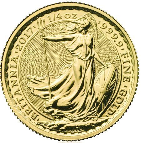 新品未使用 2017 イギリス ブリタニア金貨1/4オンス 22mmクリアーケース付き