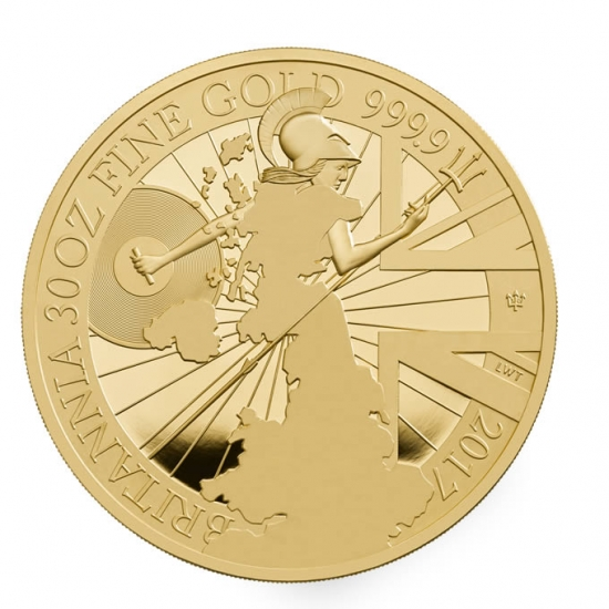 新品未使用 2017 イギリス NEW ブリタニア 金貨 30オンス プルーフ 箱付き 【20枚】限定