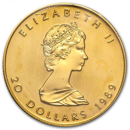 1989 カナダ メイプル金貨 1/2オンス 真空パック入り