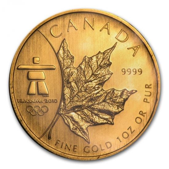 新品未使用 2008 カナダ メイプル金貨 (Vancouver Olympics) 1オンス。(30mmクリアーケース付き)