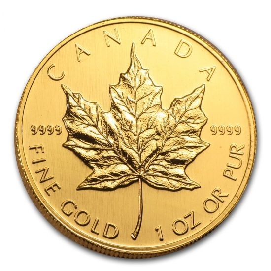 新品未使用 2001 カナダ メイプル金貨1オンス。(30mmクリアーケース付き)