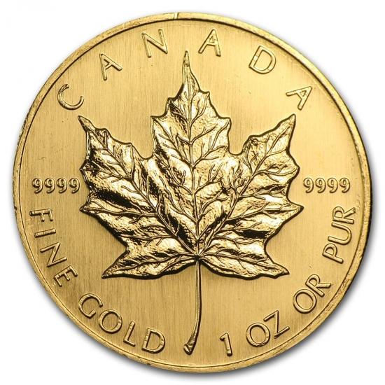 新品未使用 1998 カナダ メイプル金貨1オンス。(30mmクリアーケース付き)