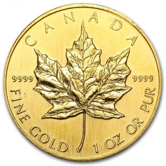 1990 カナダ メイプル金貨1オンス 30mmクリアーケース付き 低価,送料無料
