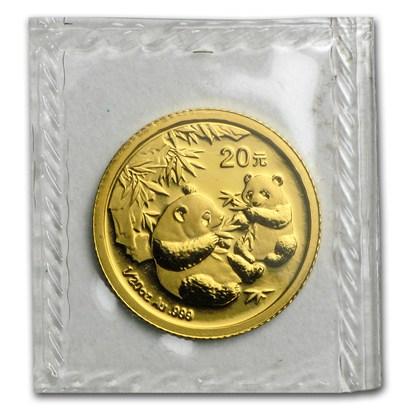 新品未使用 2006 中国  パンダ金貨 1/20オンス 10元 真空パック入り