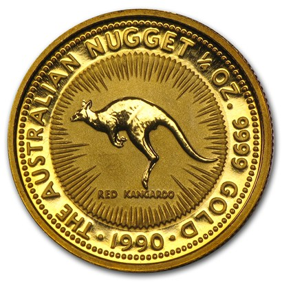 新品未使用 1990 オーストラリア、カンガルー金貨 1/4オンス クリアーケース付き