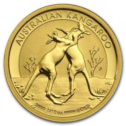 新品未使用 2010 オーストラリア、カンガルー金貨 1/10オンス クリアーケース付き