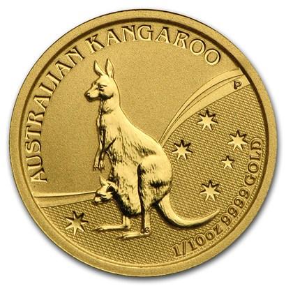 新品未使用 2009 オーストラリア、カンガルー金貨 1/10オンス クリアーケース付き