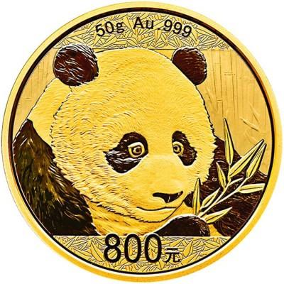 新品未使用 2018年 中国 パンダ金貨 プルーフ 50 グラム 800元 箱付き